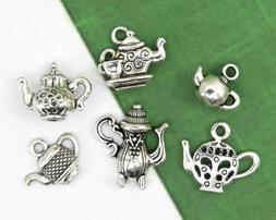 Set of 6 TEA POT Charms, Tibetan Antique Silver Mixed Charm