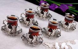set of 6 traditional turkish tea glasses