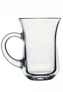 Set Of 6 Turkish Glass Tea Cups W/ Handles Samovar Persian C