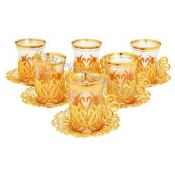 Turkish Tea Glasses Holders Serving Cups Saucers Set