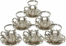 Turkish Tea Glasses Set 6 Tea Serving Cups Saucers Set  SI