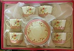 Set of tea-espresso cup  bone china fine porcelain / Pink