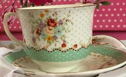 Set of tea-espresso cup fine porcelain   / Green design