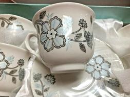 Set of tea-espresso cup  of White Porcelain / blue flower 6o