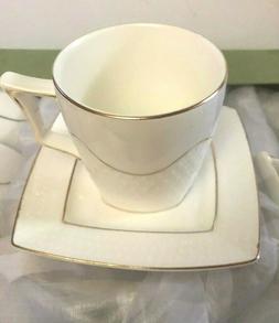 Set of  Tea  Porcelain  White with golden rim