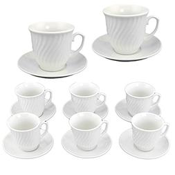 Adorox 12 Piece Set - 6 Ounce, White Porcelain Coffee Mugs &