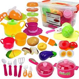 FUNERICA Set of Pretend Food and Dishes Playset for Kids - I
