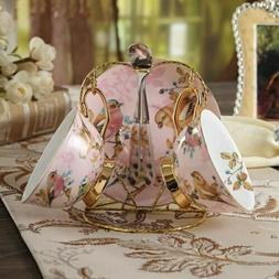 Shabby chic pink bird bone china tea set home decor kitchenw
