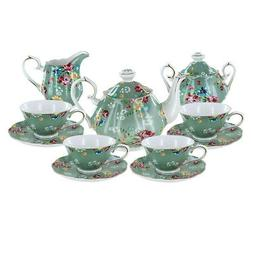 Shabby Rose Green Porcelain Tea Set