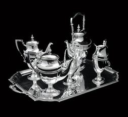 6 pc. Silver, 19th Century, Austrian Tea Set with Serving Tr