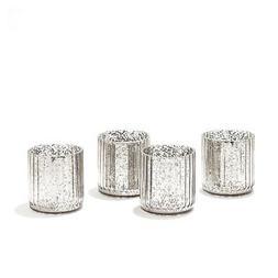 LampLust Silver Mercury Glass Votive/Tea Light Candle Holder
