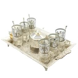 Silver Plated Tea Set of 6 Cups & Saucers with Spoons, Servi