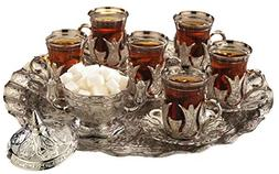 Gold Case Silver plated Turkish Tea Glasses Service Set for