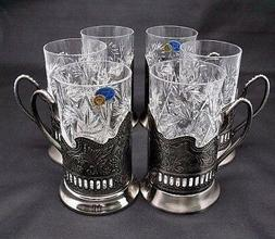 Silver Russian Crystal Tea Glass Holder Set, Vintage Podstak