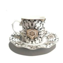 Silver Small Tea,Coffee,Espresso Cup & saucer, set of 6, dec