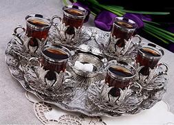 Silver Colour Turkish Tea Set for Six People with Tray Turki