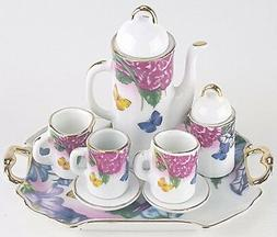 SM COLLECTIBLE BUTTERFLIES PORCELAIN TEA SET TEAPOT SUGAR BO