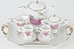 MINI COLLECTIBLE HUMMINGBIRD PORCELAIN TEA SET TEAPOT SUGAR