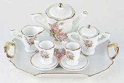 SMALL COLLECTIBLE ROSE PORCELAIN TEA SET TEAPOT SUGAR BOWL C