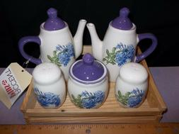 Small Tea Set in Fir Wood Box for Child's Room Table Top 8 P