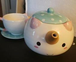 SMOKO Elodie Unicorn Tea Set w/Teapot, Cup & Saucer, Decorat
