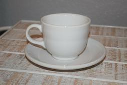 Fiesta Solid White Tea Cup and Saucer Set of 8 -Lead Free