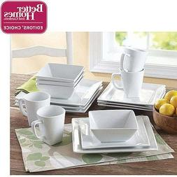 Better Homes and Gardens Square 16 Piece Porcelain Dinnerwar