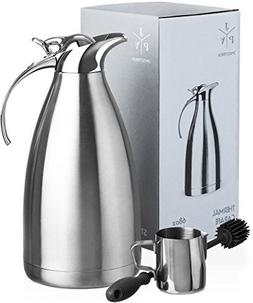 Stainless Steel Coffee Carafe - Insulated Thermal Carafe - 6