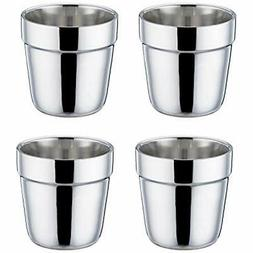 TeamFar Coffee Cup Espresso Cup Mug Set of 4, Double Wall St