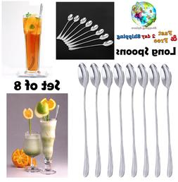 Stainless Steel Spoon Set Long Handle Tea Spoons Dessert Spo