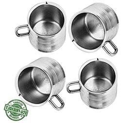 IndiaBigShop Set of 4 Stainless Steel Tea & Coffee Cups, Dri