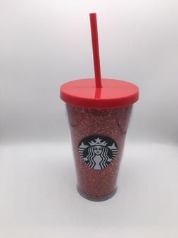 Starbucks Red Glitter 16oz Tumbler Limited Edition Cup New G