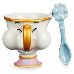Disney Store Beauty And The Beast Chip Mug & Spoon Set Coffe