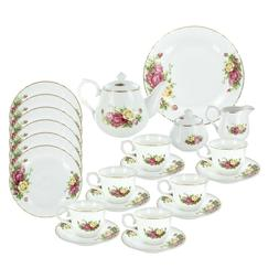 Summertime Roses Deluxe Porcelain Tea Set