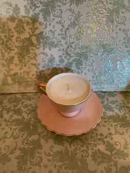 Sweet JUSALPHA Soft Pink Tea Cup And Saucer Candle New W/out