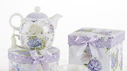 Tea For One Teapot with Saucer and Cup Purple Hydrangea and