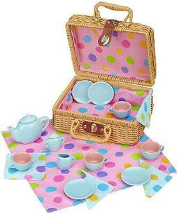 Tea Basket Pretend Play Toys Girls Party Wicker Picnic Porce