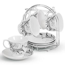Lorren Home Trends 5-Piece Tea/Coffee Set, Black Damask Desi