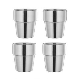 LIANYU Stainless Steel Cups Set of 4, Double Walled Tumbler,