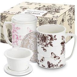 The Tea Couple Tea Infuser Mug  14 oz. Vintage Porcelain Cup