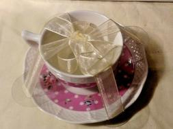 NANTUCKET HOME TEA CUP AND SAUCER SET, PINK, WHITE, DOTS AND