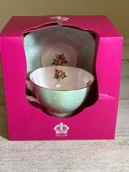 Royal Albert Tea Cup & Saucer Set POLKA ROSE VINTAGE Green W
