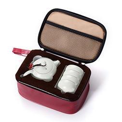 Tea Cup Kit Porcelain Tea Tasting Set Of 4 With Travel Bag T