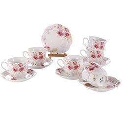 Tea Cup and Saucer Set of 6 - Bone China Porcelain cups Flor