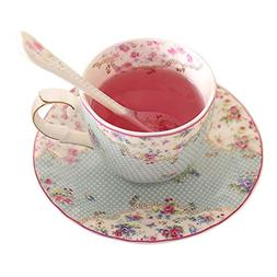 Tea Cup & Saucer with Spoon Fine Bone China - 6.8 Ounce for