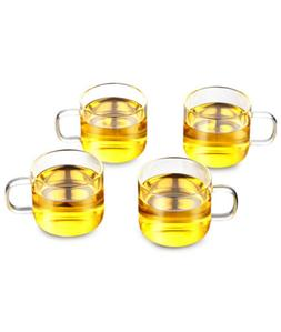 Tea Cup Set of 4 Glass Teacups with Handle 120ml/4oz Tea Mug