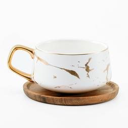Tilany Tea Cup with Wooden Saucer Set - - Ceramic Coffee Cup