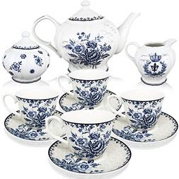 Tea Cups And Saucer Pot Set Porcelain Blue Dream Serveware D