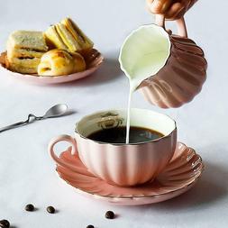 Tea Cups and Saucers, Porcelain Tea Set, Set of 6 - Pink
