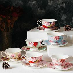 Tea Cups and Saucers Set of 6, Tea Set, Floral Tea Cups (8oz